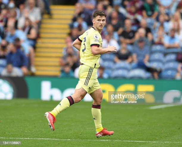 Kieran Tierney of Arsenal during the Premier League match between Burnley and Arsenal at Turf Moor on September 18, 2021 in Burnley, England.
