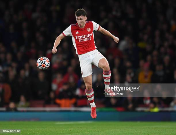 Kieran Tierney of Arsenal during the Premier League match between Arsenal and Crystal Palace at Emirates Stadium on October 18, 2021 in London,...