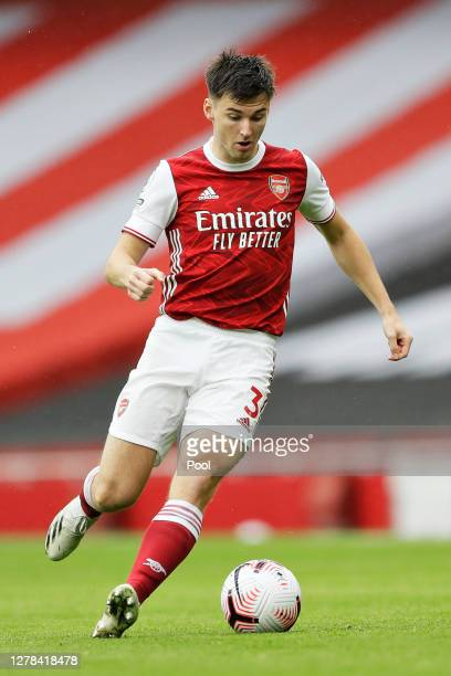 Kieran Tierney of Arsenal in action during the Premier League match between Arsenal and Sheffield United at Emirates Stadium on October 04 2020 in...