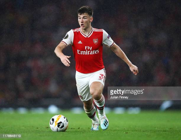 Kieran Tierney of Arsenal in action during the UEFA Europa League group F match between Arsenal FC and Standard Liege at Emirates Stadium on October...