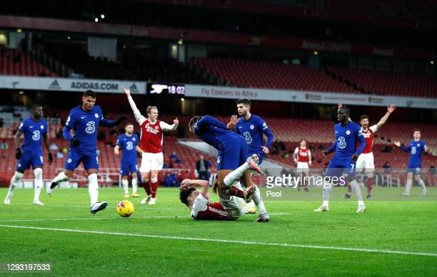 Kieran Tierney of Arsenal is fouled by Reece James of Chelsea leading to Arsenal being awarded a penalty during the Premier League match between...
