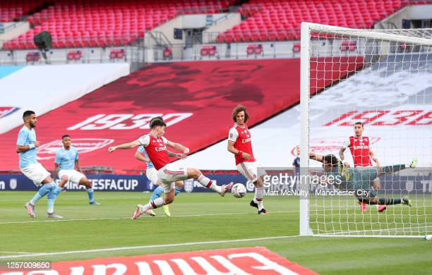 Kieran Tierney of Arsenal makes a clearance during the FA Cup Semi Final match between Arsenal and Manchester City at Wembley Stadium on July 18 2020...