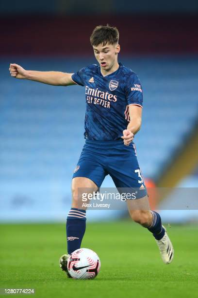 Kieran Tierney of Arsenal passes the ball during the Premier League match between Manchester City and Arsenal at Etihad Stadium on October 17 2020 in...