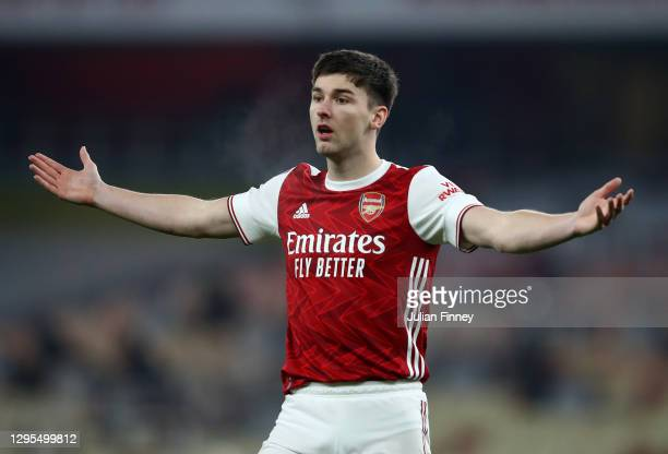 Kieran Tierney of Arsenal reacts during the FA Cup Third Round match between Arsenal and Newcastle United at Emirates Stadium on January 09, 2021 in...
