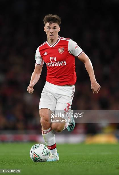Kieran Tierney of Arsenal runs with the ball during the Carabao Cup Third Round match between Arsenal and Nottingham Forest at Emirates Stadium on...