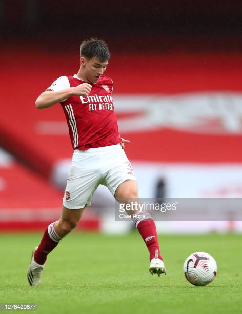 Kieran Tierney of Arsenal runs with the ball during the Premier League match between Arsenal and Sheffield United at Emirates Stadium on October 04...