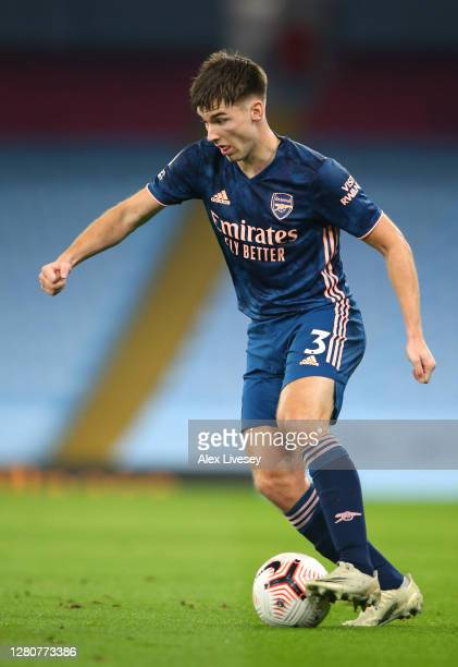 Kieran Tierney of Arsenal runs with the ball during the Premier League match between Manchester City and Arsenal at Etihad Stadium on October 17 2020...