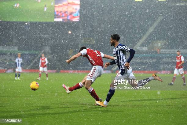 Kieran Tierney of Arsenal scores their first goal during the Premier League match between West Bromwich Albion and Arsenal at The Hawthorns on...