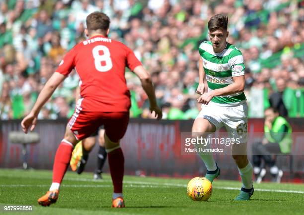 Kieran Tierney of Celtic and Greg Stewart of Aberdeen in action during the Scottish Premier League match between Celtic and Aberdeen at Celtic Park...