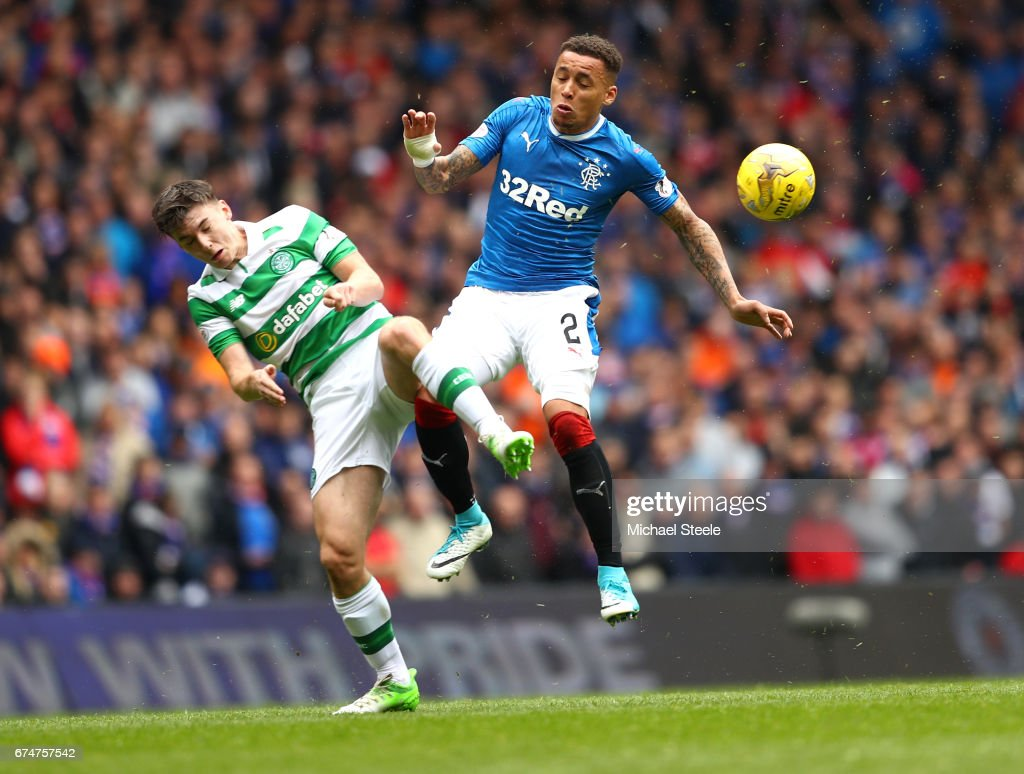Kieran Tierney of Celtic and James Tavernier of Rangers battle for the ball during the Ladbrokes Scottish Premiership match between Rangers and Celtic at Ibrox Stadium on April 29, 2017 in Glasgow, Scotland.