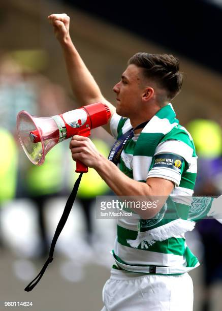 Kieran Tierney of Celtic celebrates after during the Scottish Cup Final between Motherwell and Celtic at Hampden Park on May 19 2018 in Glasgow...