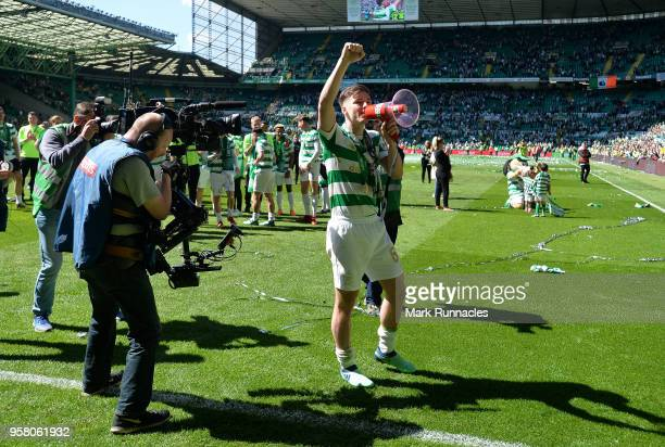 Kieran Tierney of Celtic celebrates as Celtic win the Ladbrokes Scottish Premier League during the Scottish Premier League match between Celtic and...