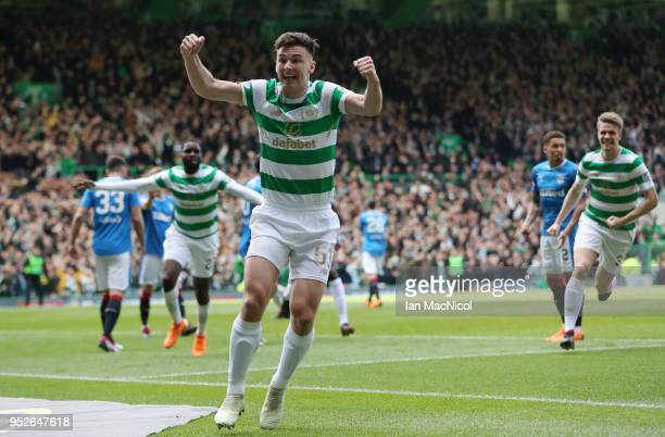 Kieran Tierney of Celtic celebrates his sides first goal as Odsonne Edouard of Celtic scores their sides first goal during the Scottish Premier...