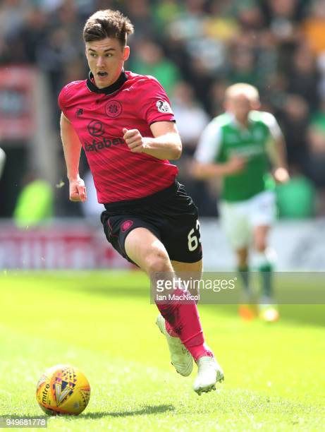Kieran Tierney of Celtic controls the ball during the Ladbrokes Scottish Premiership match between Hibernian and Celtic at Easter Road on April 21...
