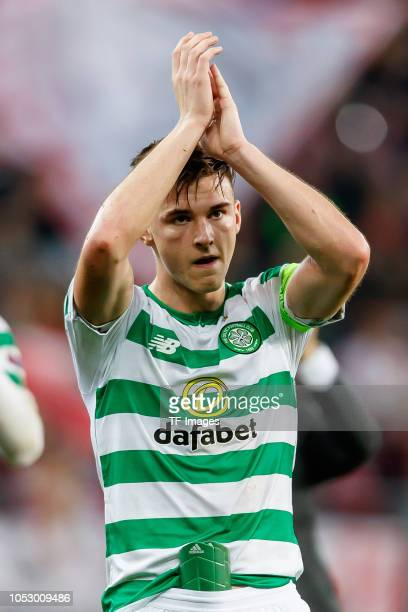 Kieran Tierney of Celtic gestures during the UEFA Europa League Group B match between FC Salzburg and Celtic at Red Bull Arena WalsSiezenheim on...