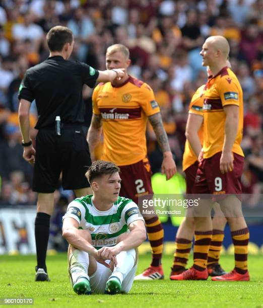 Kieran Tierney of Celtic goes down during the Scottish Cup Final between Motherwell and Celtic at Hampden Park on May 19 2018 in Glasgow Scotland
