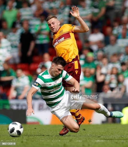 Kieran Tierney of Celtic is challenged by Allan Campbell of Motherwell during the Scottish Cup Final between Motherwell and Celtic at Hampden Park on...