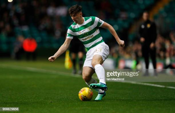 Kieran Tierney of Celtic is seen during the Scottish Premier League between Celtic and Kilmarnock at Celtic Park on May 9 2018 in Glasgow Scotland