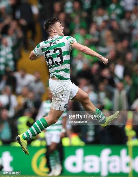 Kieran Tierney of Celtic reacts at full time during the Scottish Premier League between Celtic and Rangers at Celtic Park Stadium on September 2,...