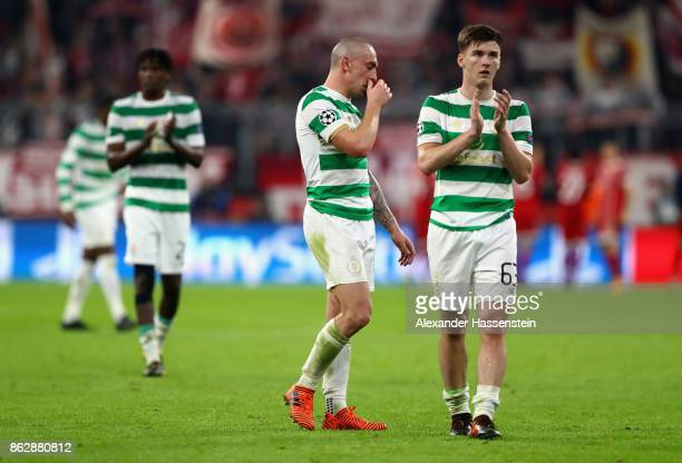 Kieran Tierney of Celtic shows appreciation to the fans after the UEFA Champions League group B match between Bayern Muenchen and Celtic FC at...