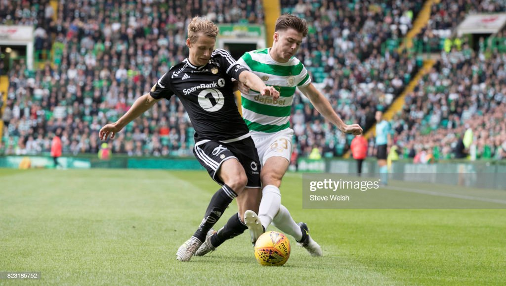 Kieran Tierney of Celtic tackles Vegar Eggen Hedenstad of Rosenborg during the UEFA Champions League Qualifying Third Round,First Leg match between Celtic and Rosenborg at Celtic Park Stadium on July 26, 2017 in Glasgow, Scotland.