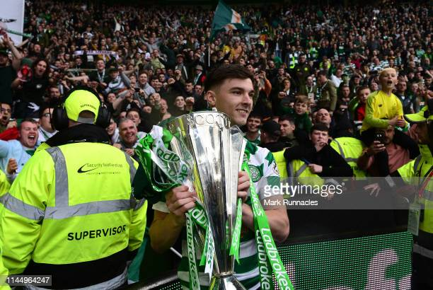 Kieran Tierney of Celtic with the League Trophy during the Ladbrokes Scottish Premiership match between Celtic FC and Heart of Midlothian FC at...