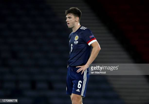 Kieran Tierney of Scotland after the UEFA Nations League group stage match between Scotland and Israel at Hampden Park National Stadium on September...