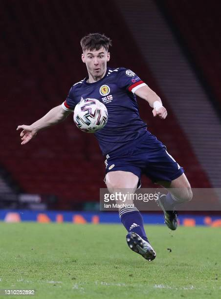 Kieran Tierney of Scotland controls the ball during the FIFA World Cup 2022 Qatar qualifying match between Scotland and Faroe Islands on March 31,...