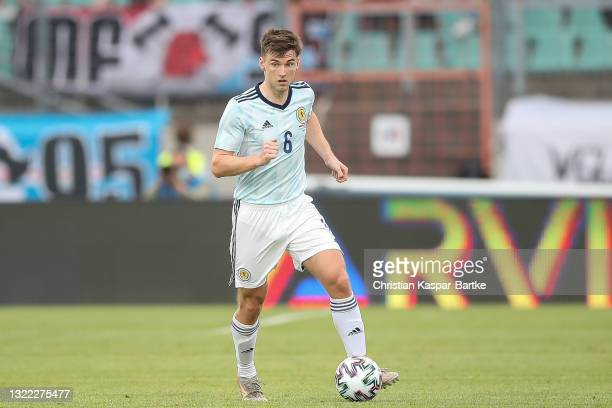 Kieran Tierney of Scotland controls the ball during the international friendly match between Luxembourg and Scotland at Stade Josy Barthel on June...