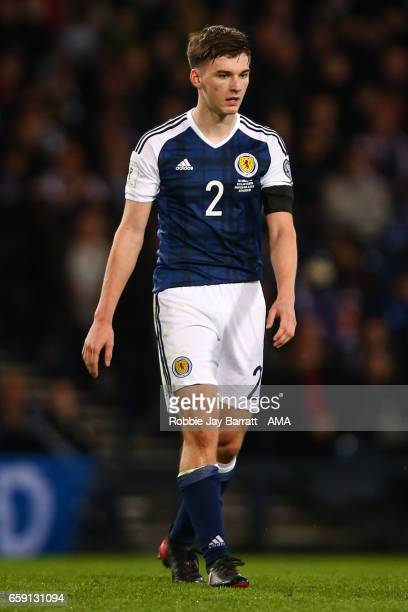 Kieran Tierney of Scotland during the FIFA 2018 World Cup Qualifier between Scotland and Slovenia at Hampden Park on March 26 2017 in Glasgow Scotland