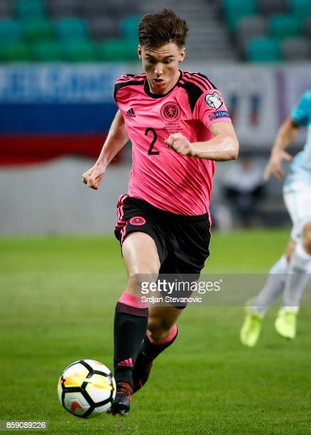 Kieran Tierney of Scotland in action during the FIFA 2018 World Cup Qualifier match between Slovenia and Scotland at stadium Stozice on October 08...