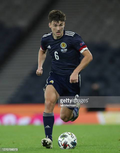 Kieran Tierney of Scotland is seen in action during the UEFA Nations League group stage match between Scotland and Israel at Hampden Park National...
