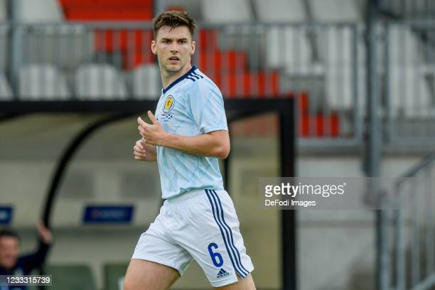 Kieran Tierney of Scotland looks on during the international friendly match between Luxembourg and Scotland at Josy-Barthel-Stadium on June 6, 2021...