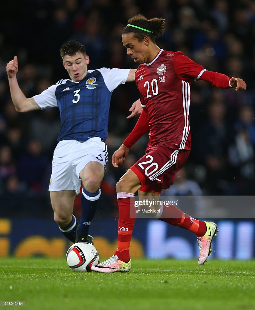 Kieran Tierney of Scotland vies with Yussuf Yurary Poulsen of Denmark during the International Friendly match between Scotland and Denmark at Hampden Park on March 29, 2016 in Glasgow, Scotland.