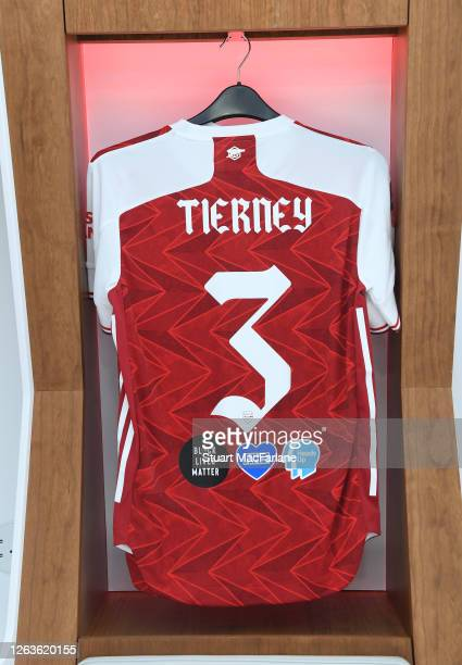 Kieran Tierney shirt in the Arsenal changing room before the FA Cup Final match between Arsenal and Chelsea at Wembley Stadium on August 01 2020 in...
