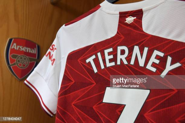 Kieran Tierney's Arsenal shirt hangs in the home changing room before the Premier League match between Arsenal and Sheffield United at Emirates...