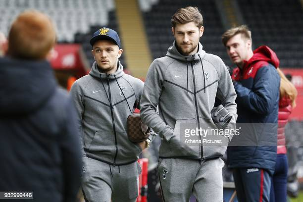 Kieran Trippier and Ben Davies of Tottenham Hotspur arrives at Liberty Stadium prior to kick off of the Fly Emirates FA Cup Quarter Final match...