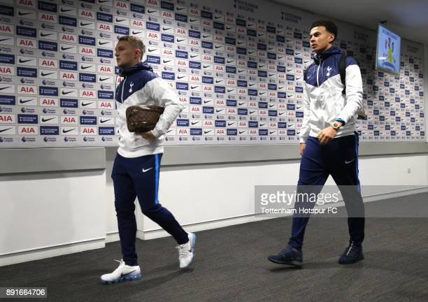Kieran Trippier and Dele Alli of Tottenham Hotspur arrive during the Premier League match between Tottenham Hotspur and Brighton and Hove Albion at...