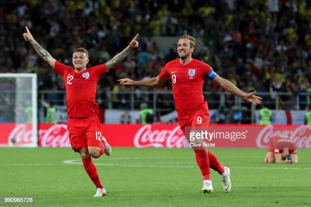 Kieran Trippier and Harry Kane of England celebrate after Eric Dier of England scores the winning penalty during the 2018 FIFA World Cup Russia Round...