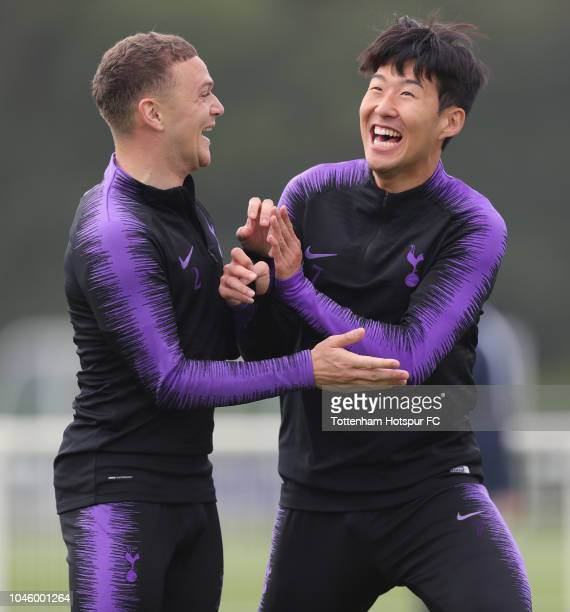 Kieran Trippier and HeungMin Son of Tottenham Hotspur during the Tottenham Hotspur training session at Tottenham Hotspur Training Centre on October 5...