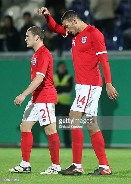 Kieran Trippier and Steven Caulkner of England look dejected after the U21 international friendly match between Germany and England at the Brita...