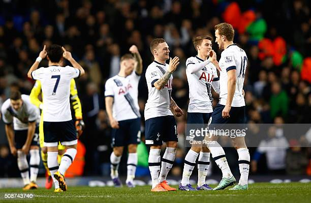 Kieran Trippier Christian Eriksen and Harry Kane of Tottenham Hotspur celebrate after their 10 win in the Barclays Premier League match between...