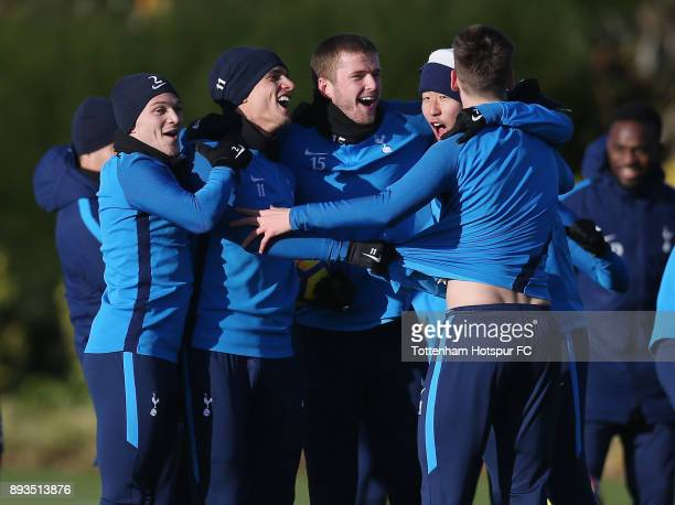 Kieran Trippier Erik Lamela Eric Dier HeungMin Son and Juan Foyth of Tottenham Hotspur during the Tottenham Hotspur training session at Tottenham...