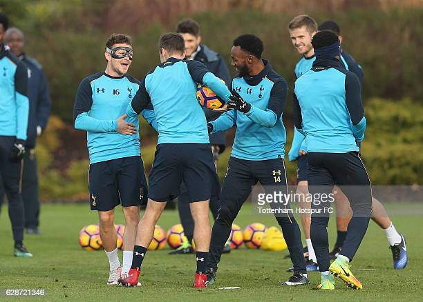 Kieran Trippier Harry Winks and GeorgesKévin N'Koudou of Tottenham during the Tottenham Hotspur training session at Tottenham hotspur Training Centre...