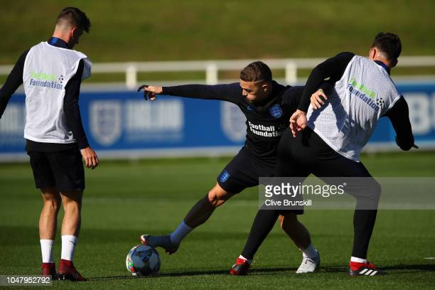 Kieran Trippier in action during an England Training Session at St Georges Park on October 9 2018 in BurtonuponTrent England