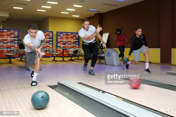 Kieran Trippier Jack Butland and Jordan Henderson of England bowl during an England media access at Repino Cronwell Park Hotel on July 5 2018 in...