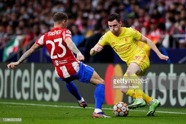 Kieran Trippier of Atletico Madrid, Andy Robertson of Liverpool FC during the UEFA Champions League match between Atletico Madrid v Liverpool at the...