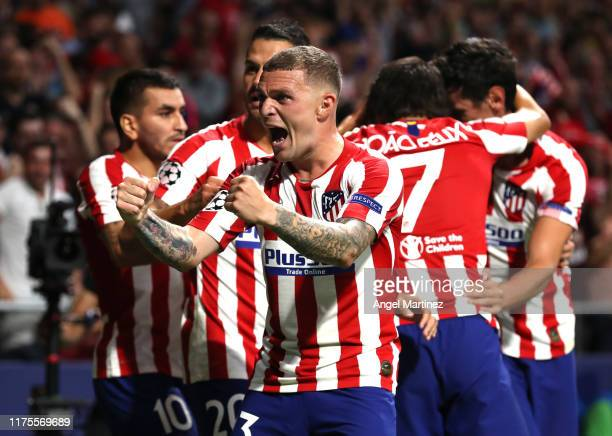 Kieran Trippier of Atletico Madrid celebrates his sides second goal scores by Hector Herrera during the UEFA Champions League group D match between...