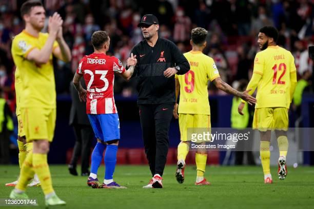 Kieran Trippier of Atletico Madrid, coach Jurgen Klopp of Liverpool FC during the UEFA Champions League match between Atletico Madrid v Liverpool at...