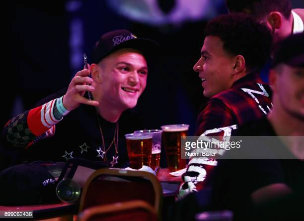 Kieran Trippier of Dele Alli of Tottenham Hotspur are seen in the crowd on day eleven of the 2018 William Hill PDC World Darts Championships at...
